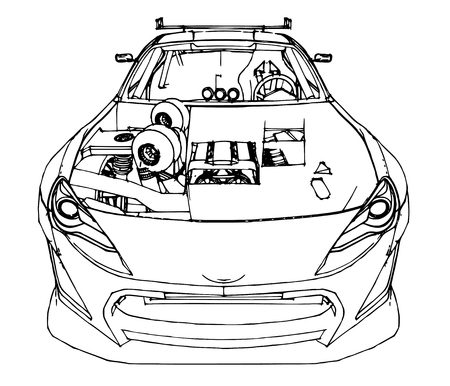 Sports car. Stock Illustration in the style of hand-drawn, linear graphics. Illustration