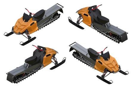Sneeuwscooter. Soorten apparatuur van verschillende kanten.