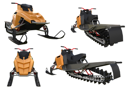 Snowmobile. Types of equipment from different sides. Stock Photo