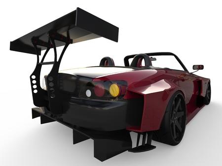 Moderne donkerrode sport-cabriolet. Open auto met tuning. 3D-rendering. Stockfoto