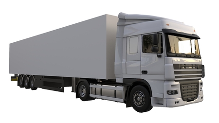 Large white truck with a semitrailer. Template for placing graphics. 3d rendering Stock fotó