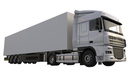 セミトレーラーと大きな白いトラック。グラフィックスを配置するためのテンプレート。3 d レンダリング