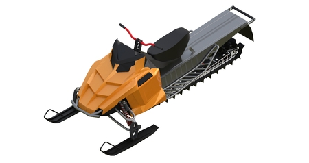 Snowmobile. Types of equipment from different sides. 3d rendering Stock Photo
