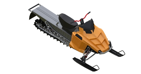 Snowmobile. Types of equipment from different sides. 3d rendering.