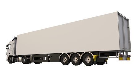 Large white truck with a semitrailer. Template for placing graphics. 3d rendering Stock Photo
