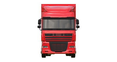 Large red truck with a semitrailer. Template for placing graphics. 3d rendering.
