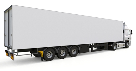 Large white truck with a semitrailer. Template for placing graphics. 3d rendering. Stock Photo