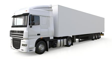 Large white truck with a semitrailer. Template for placing graphics. 3d rendering. 写真素材