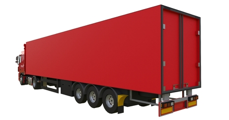 Large red truck with a semitrailer. Template for placing graphics. 3d rendering Stock Photo