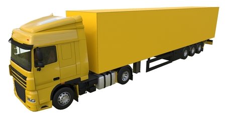 Large yellow truck with a semitrailer. Template for placing graphics. 3d rendering Stock Photo
