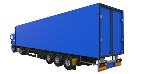 Large blue truck with a semitrailer. Template for placing graphics. 3d rendering