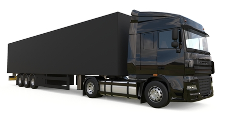 Large black truck with a semitrailer. Template for placing graphics. 3d rendering