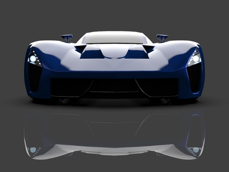 Blue racing concept car. Image of a car on a gray glossy background. 3d rendering