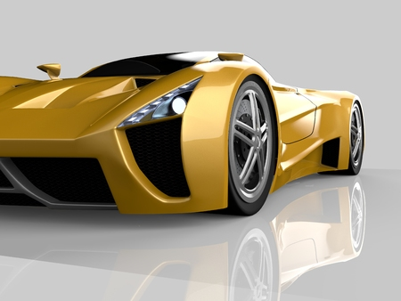 Yellow racing concept car. Image of a car on a gray glossy background. 3d rendering 版權商用圖片