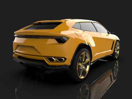 The newest sports all-wheel drive yellow premium crossover in a black studio with a reflective floor. 3d rendering Foto de archivo
