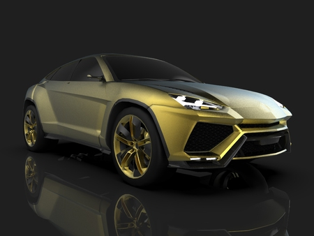 The newest sports all-wheel drive gold premium crossover in a black studio with a reflective floor. 3d rendering Stock Photo
