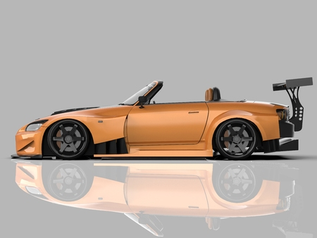 Modern yellow sports convertible. Open car with tuning. 3d rendering