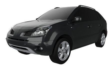 Compact city crossover black color on a white background. 3d rendering Stock Photo