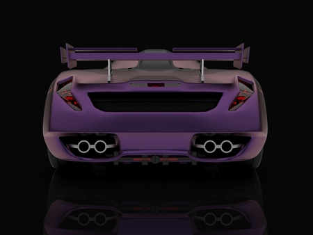 Purple racing concept car. Image of a car on a black glossy background. 3d rendering Reklamní fotografie