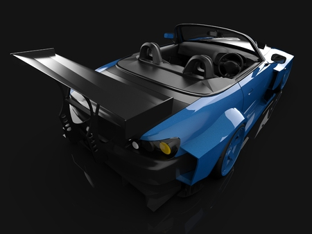 Moderne blauwe sport cabriolet. Open auto met afstemming. 3D-weergave Stockfoto