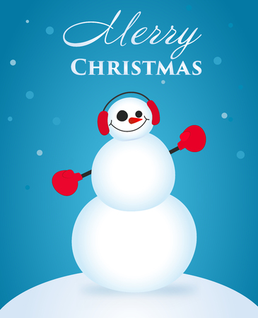 Cute and funny Christmas card. Character snowman. Vector illustration