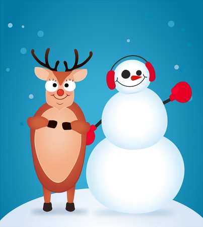 Christmas Reindeer. Cute and funny character Deer and Snowman. Christmas card. Vector illustration Stock Photo