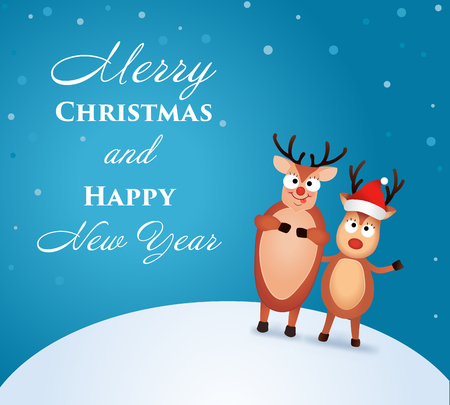 Christmas Reindeer. Cute and funny character Deer. Christmas card. Vector illustration Ilustração