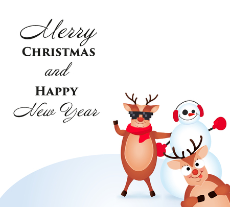 Christmas Reindeer. Cute and funny character Deer and Snowman. Christmas card. Vector illustration Illustration