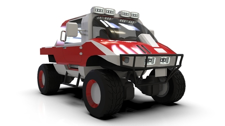 Special all-terrain vehicle for difficult terrain and difficult road and weather conditions. 3d rendering Stock Photo
