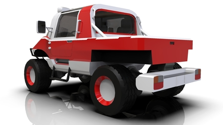 Special all-terrain vehicle for difficult terrain and difficult road and weather conditions. 3d rendering 스톡 콘텐츠