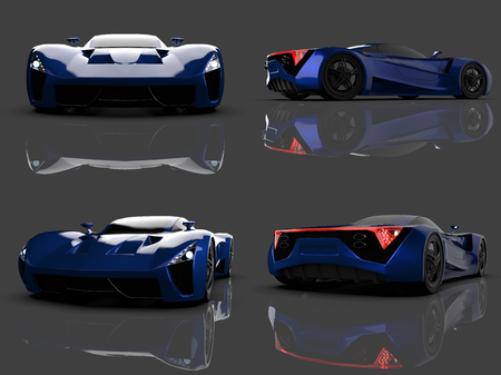 Set blue racing concept car. Image of a car on a gray glossy background. 3d rendering