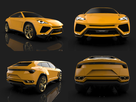 The newest sports all-wheel drive yellow premium crossover in a black studio with a reflective floor. 3d rendering Stock Photo