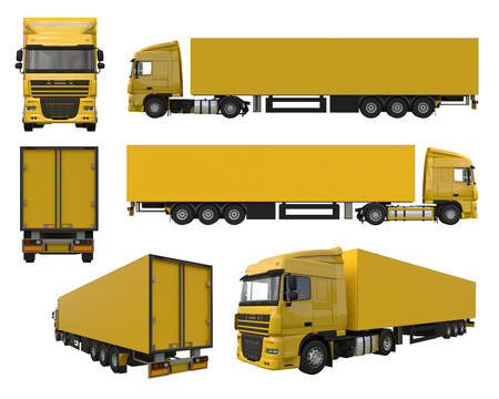 Set large yellow truck with a semitrailer. Template for placing graphics. 3d rendering