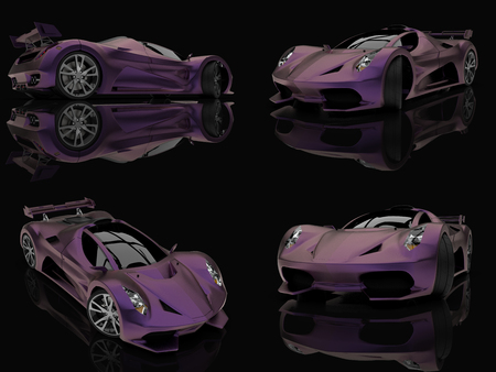 Set purple racing concept car. Image of a car on a black glossy background. 3d rendering Stock fotó