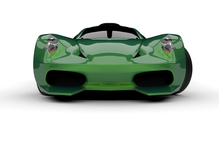 Green racing concept car. Image of a car on a white background. 3d rendering Foto de archivo