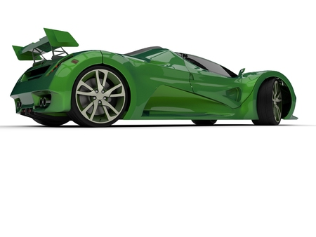 Green racing concept car. Image of a car on a white background. 3d rendering 版權商用圖片