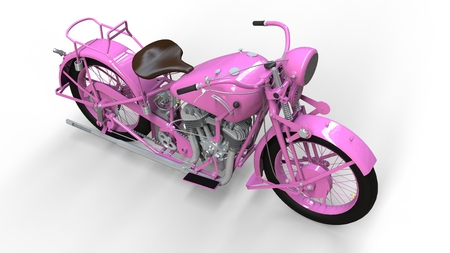 An old pink motorcycle of the 30s of the 20th century. An illustration on a white background with shadows from on a plane