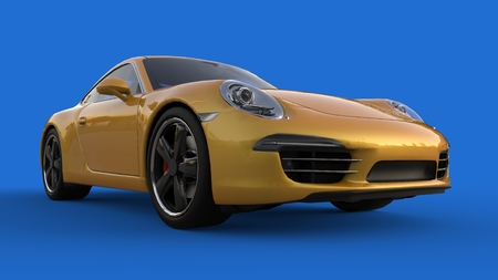 Sports car. The image of a sports yellow car on a blue background. 3d illustration Stock Photo
