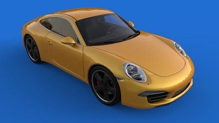 Sports car. The image of a sports yellow car on a blue background. 3d illustration Foto de archivo