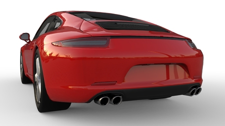 Sports car. The image of a sports red car on a white background. 3d illustration. Фото со стока
