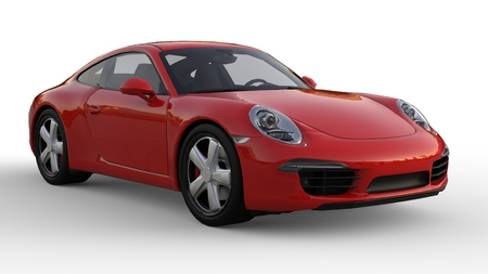 Sports car. The image of a sports red car on a white background. 3d illustration. Stock Photo