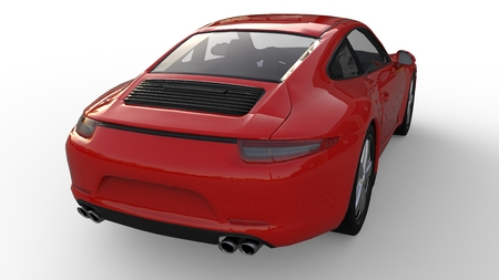 Sports car. The image of a sports red car on a white background. 3d illustration