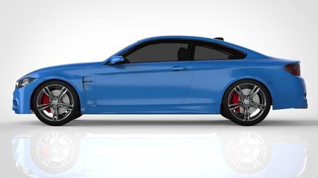Blue Sports car. 3d rendering Stock Photo