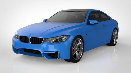 Blue Sports car. 3d rendering Фото со стока
