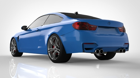 Blue Sports car. 3d rendering Stock Photo