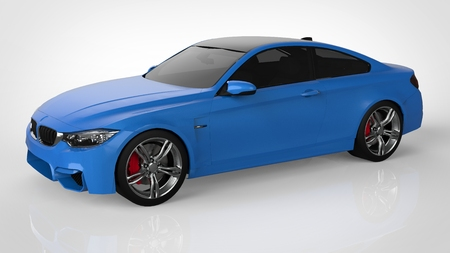 Blue Sports car. 3d rendering 版權商用圖片