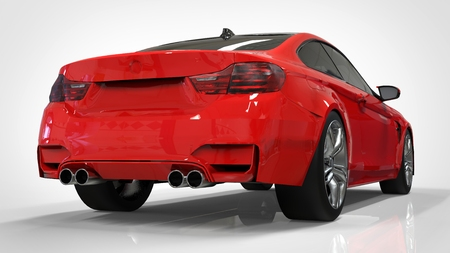 Red Sports car. 3d rendering