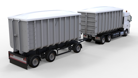 Large white truck with separate trailer, for transportation of agricultural and building bulk materials and products. 3d rendering