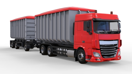 Large red truck with separate trailer, for transportation of agricultural and building bulk materials and products. 3d rendering