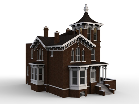 Old house in Victorian style. Illustration on white background. Species from different sides. 3d rendering